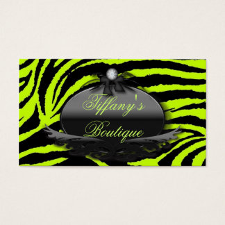makeup artist hair stylist Lime Green Zebra print Business Card