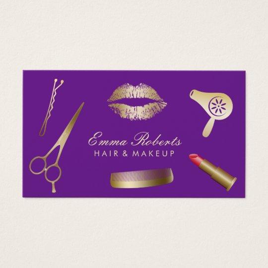 Makeup Artist Hair Stylist Modern Gold & Purple