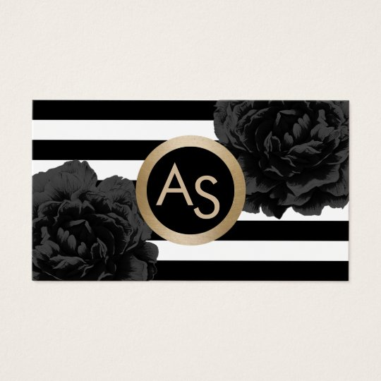 Makeup Artist Hair Stylist Modern Monogram Floral Business Card