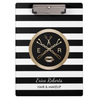 Makeup Artist & Hair Stylist Modern Stripes Clipboard