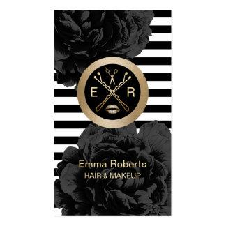 Makeup Artist & Hair Stylist Modern Stripes Floral Pack Of Standard Business Cards