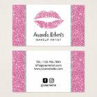 Makeup Artist Hot Pink Glitter Lips Beauty Salon Business Card