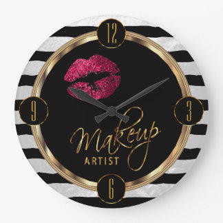 Makeup Artist Hot Pink Lips with White Stripes Large Clock