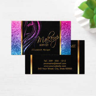 Makeup Artist in A Girly Colorful Glitter Business Card