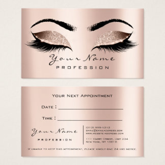 Makeup Artist Lashes Pink Rose Appointment Card