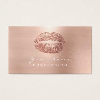 Makeup Artist Lips Pink Rose Gold Lipstick Glitter Business Card