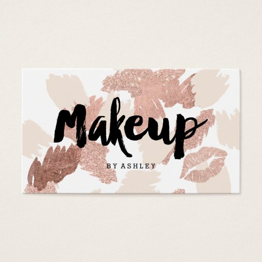 Makeup artist lips rose gold script brushstrokes business