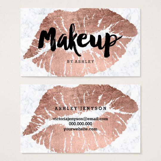 Makeup artist lips rose gold typography marble business