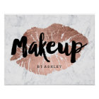 Makeup artist lips rose gold typography marble poster