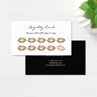 Makeup Artist Loyalty Chic Gold Lips Business Card