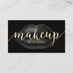 Business card holder free engraving beautiful feminine business cards holder free engraving ads makeup artist luxury black lips beauty salon business card reheart Gallery
