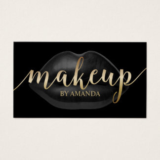 Makeup Artist Luxury Black Lips Beauty Salon Business Card