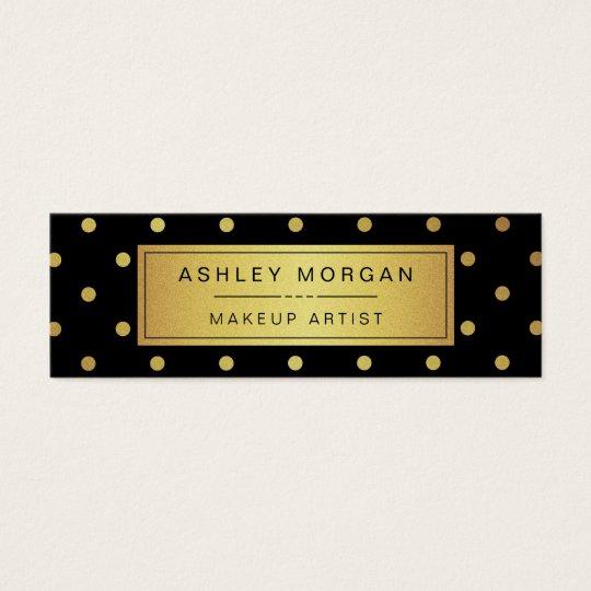 Makeup Artist Mini Card - Black White Gold Dots