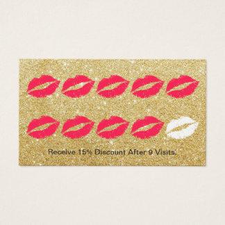 Makeup Artist Modern Gold Glitter Loyalty Punch Business Card