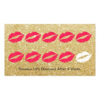 Makeup Artist Modern Gold Glitter Loyalty Punch Pack Of Standard Business Cards