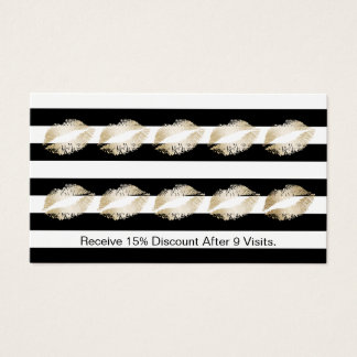 Makeup Artist Modern Gold Lips Loyalty Punch Business Card