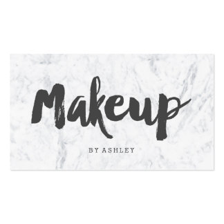 Makeup artist modern gray typography marble pack of standard business cards