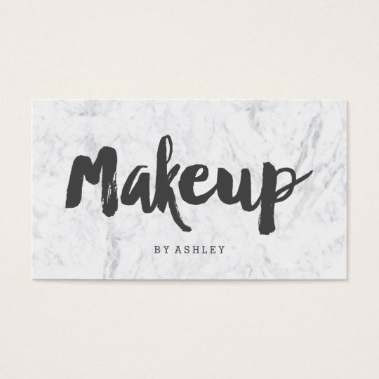 Makeup artist modern grey typography marble business card