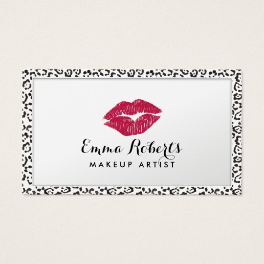 Makeup Artist Modern Leopard Print Border Elegant Business Card