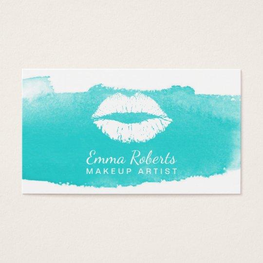 Makeup Artist Modern Lips Elegant Watercolor Business Card