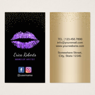 Makeup Artist Modern Purple Glitter Lips Salon Business Card