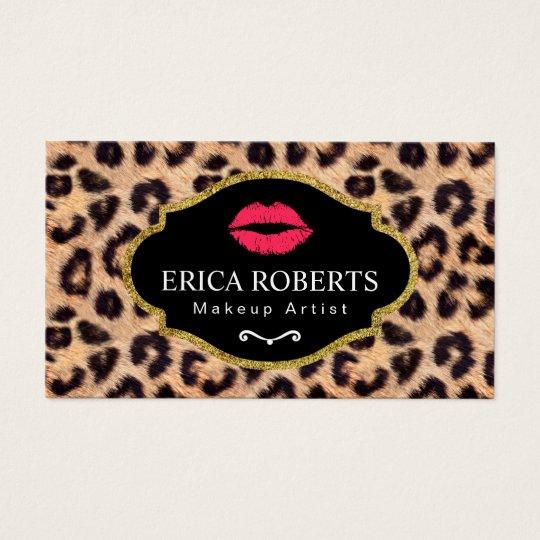 Makeup Artist Modern Red Lips Leopard Print Salon