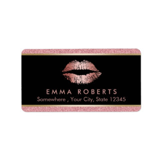 Makeup Artist Modern Rose Gold Glitter Lips Salon Address Label