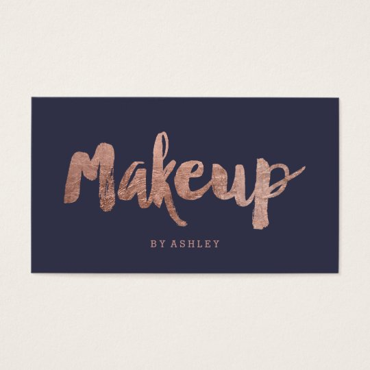 Makeup artist modern rose gold typography blue business
