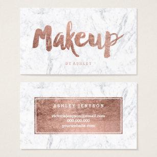 Makeup artist business cards zazzle uk makeup artist modern rose gold typography marble business card colourmoves