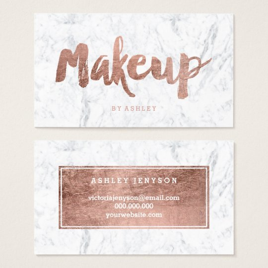 Makeup artist modern rose gold typography marble business for Makeup artist quotes for business cards