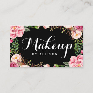 makeup artist modern script girly floral wrapping business card - Girly Business Cards