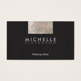 Makeup Artist Modern Stylish FAUX Sequin Black Business Card