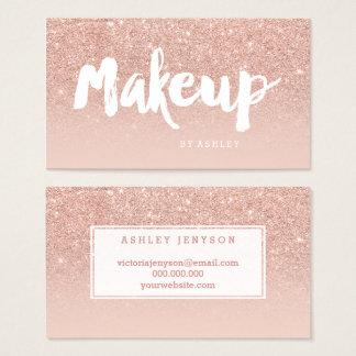 Makeup artist modern typography blush rose gold business card
