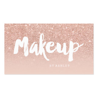 Makeup artist modern typography blush rose gold pack of standard business cards