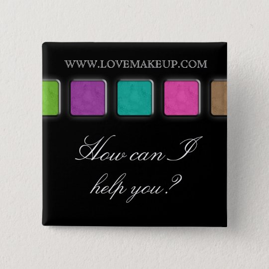 Makeup Artist Name Tag Button Brooch Palette