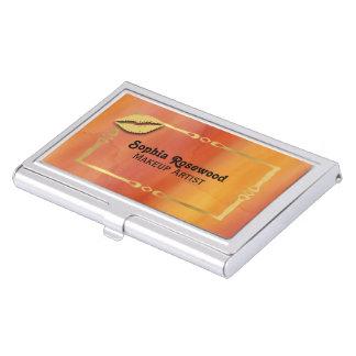 Makeup Artist Orange Watercolor Gold Lips Business Card Holder