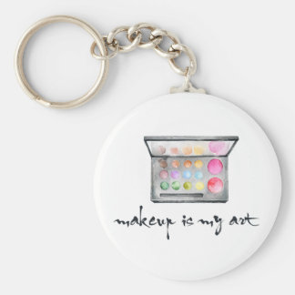 """Makeup Artist Palette - """"Makeup Is My Art"""" Quote Basic Round Button Key Ring"""