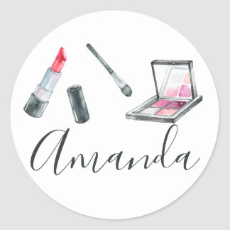 Makeup Artist Personalized Custom Art Classic Round Sticker