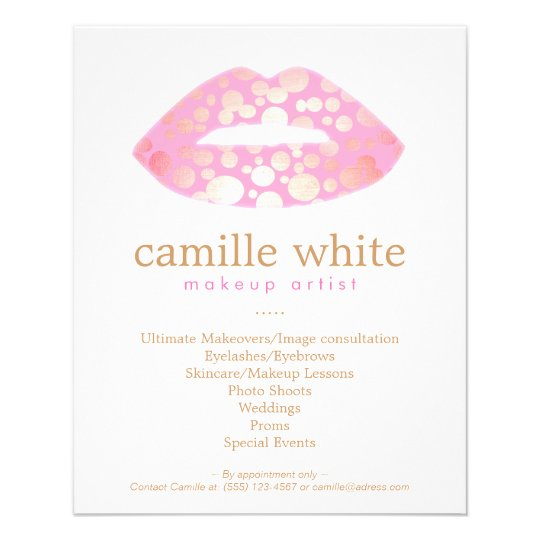 Makeup Artist Pink and Gold Lips Beauty Salon