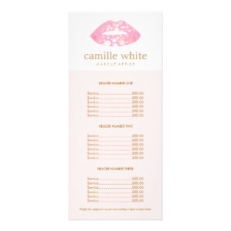 Makeup Artist Pink and Gold Lips Pink Price List Rack Cards