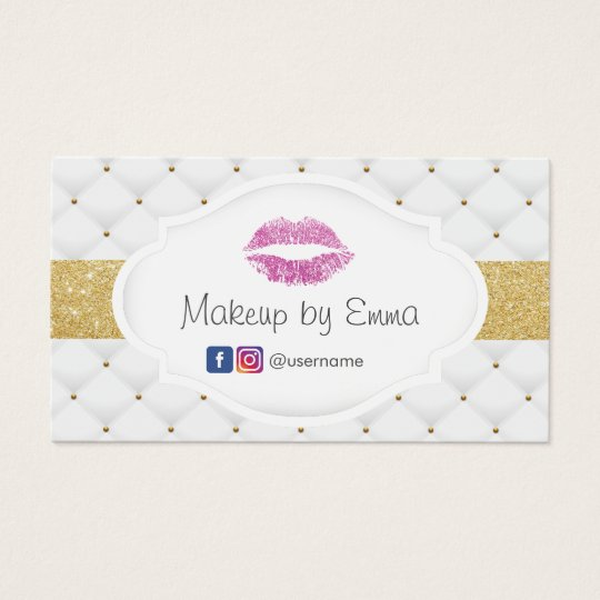 Makeup Artist Pink Glitter Lips Luxury Quilts Business Card