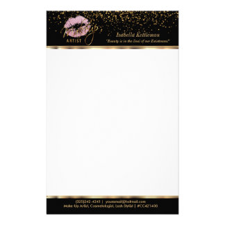 Makeup Artist Pink Glitter Lips Stationery