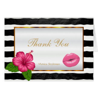 Makeup Artist  Pink Lips on Black & White Stripes Card