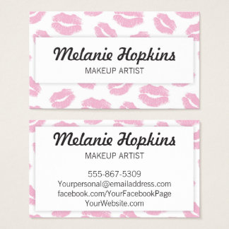 Makeup Artist Pink Lipstick Kisses Business Card