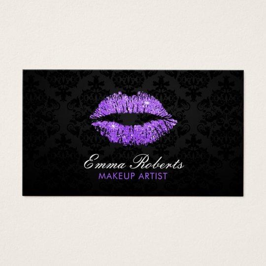 Makeup Artist Purple Glitter Lips Elegant Damask Business