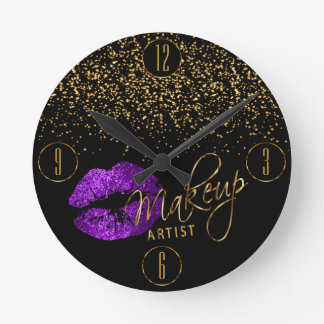 Makeup Artist Purple Lips with Gold Confetti Round Clock