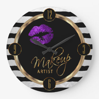 Makeup Artist Purple Lips with White Stripes Large Clock