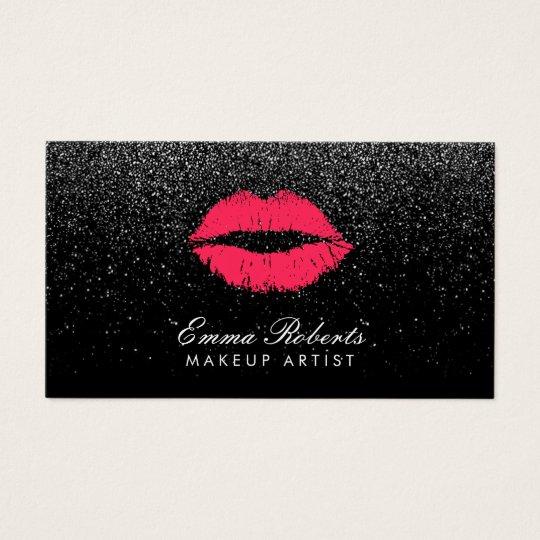 Makeup Artist Red Lips Black Glitter Modern Business