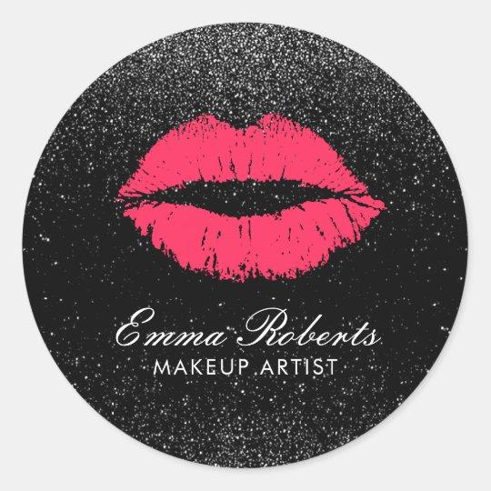 Makeup Artist Red Lips Black Glitter Modern Salon Classic Round Sticker
