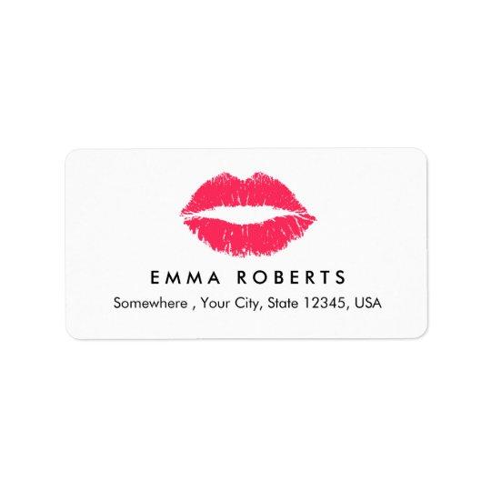 Makeup Artist Red Lips Elegant Beauty Salon Address Label